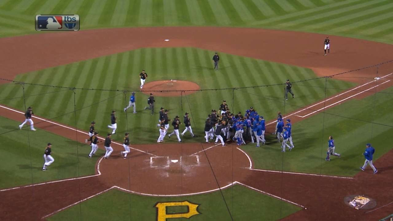 Pirates & Cubs benches clear after Jake Arrieta beamed!
