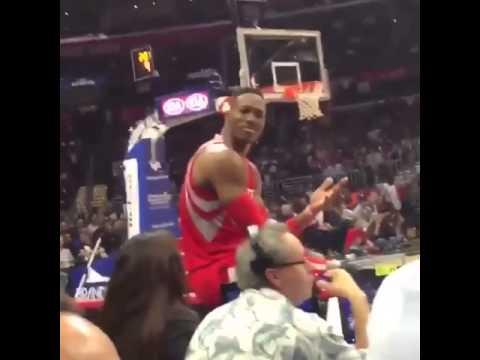 Courtside fan chrips Dwight Howard