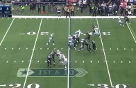 Cowboys OL La'El Collins pancakes two Seahawks on the same play