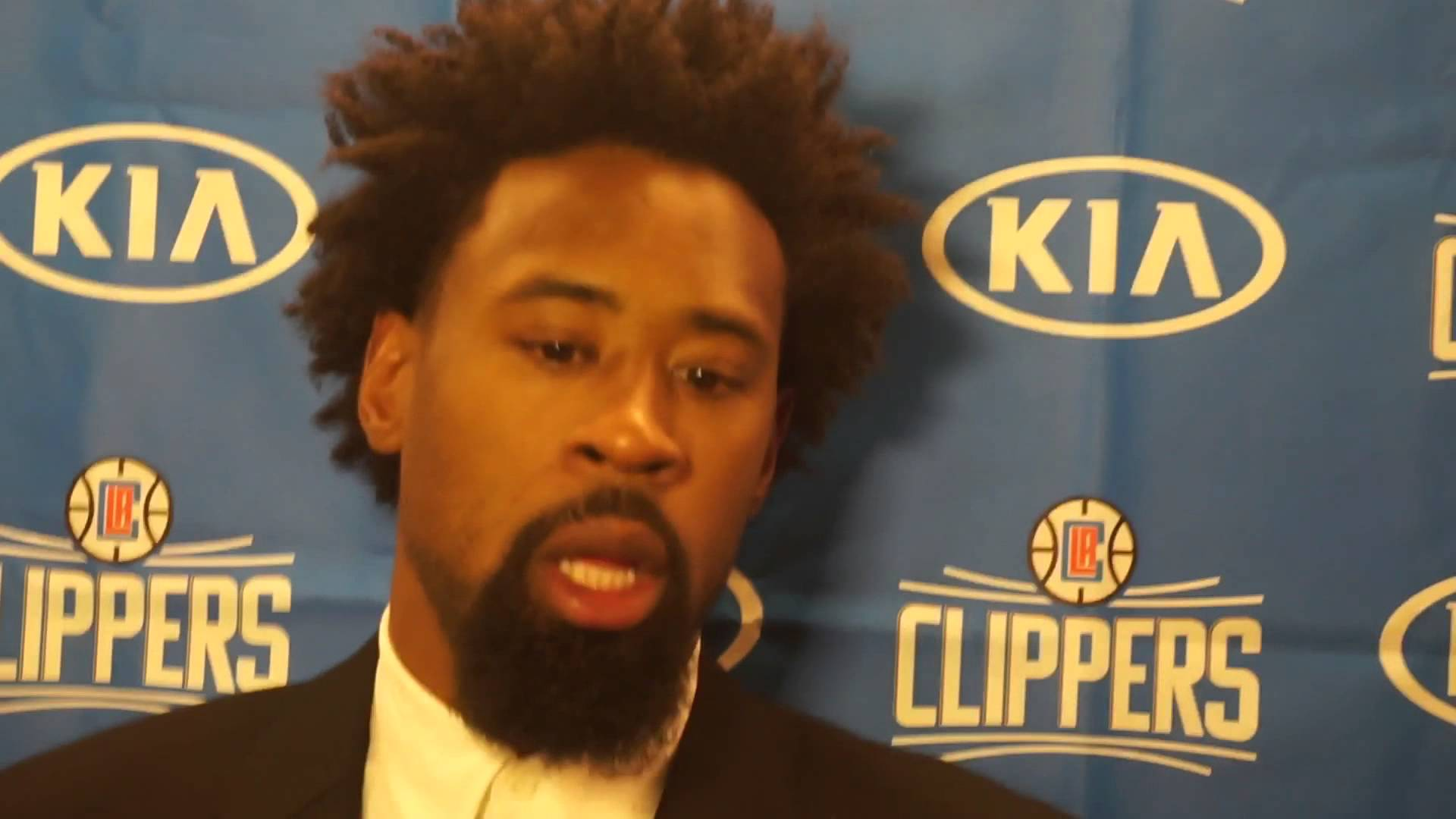 DeAndre Jordan addresses the media following first game in Dallas
