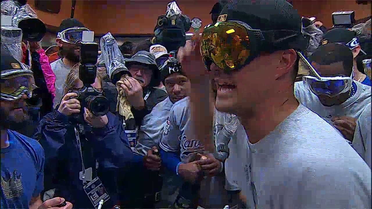 Kansas City Royals celebrate with a Ric Flair intro by Jeremy Guthrie