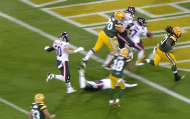 Eddie Lacy almost pulls a DeSean Jackson pre-mature TD ball toss