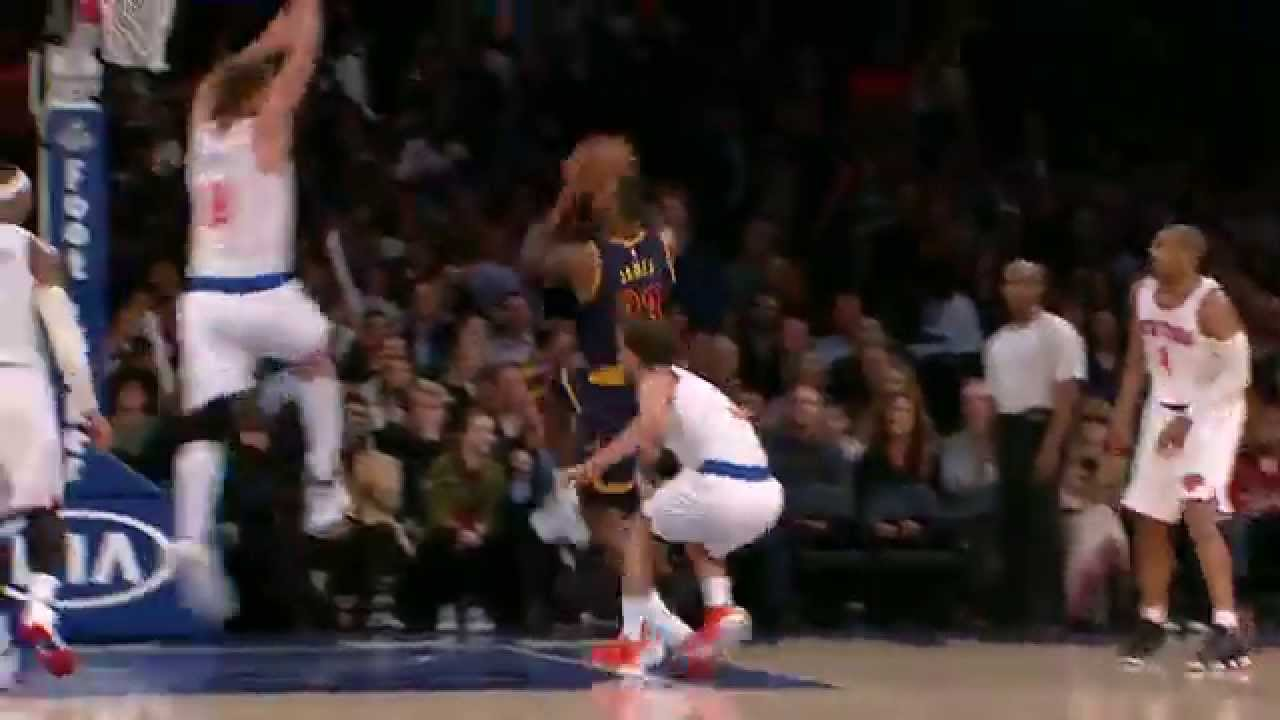 LeBron James with sweet finish at the rim after a spin move