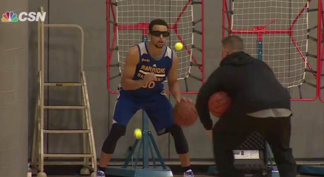 Steph Curry improves his dribbling skills by using tennis balls & vision impaired glasses