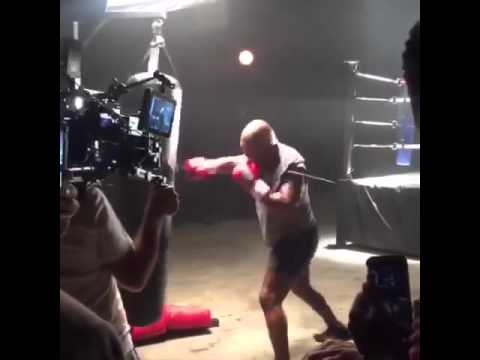 49 year old Mike Tyson hitting a heavy bag