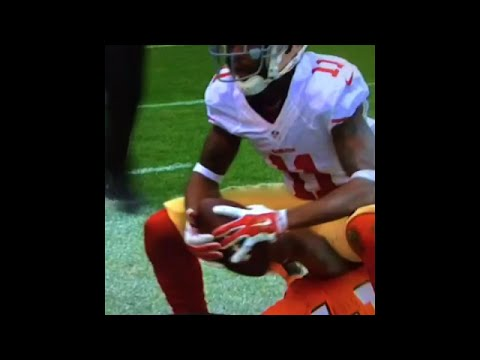 49ers WR Quinton Patton sits on top of Cleveland Browns defender