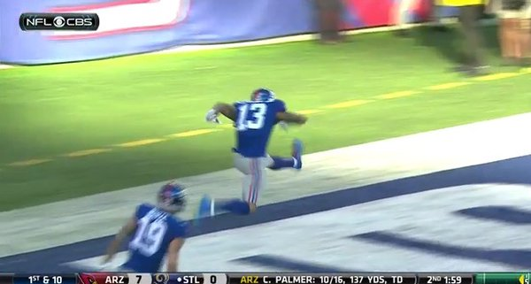 Odell Beckham celebrates TD with hurdles