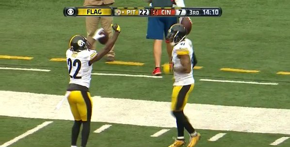 Pittsburgh Steeler William Gay pimps the hell out of his pick 6