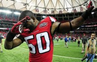 Falcons linebacker O'Brien Schofield dabs on the Carolina Panthers