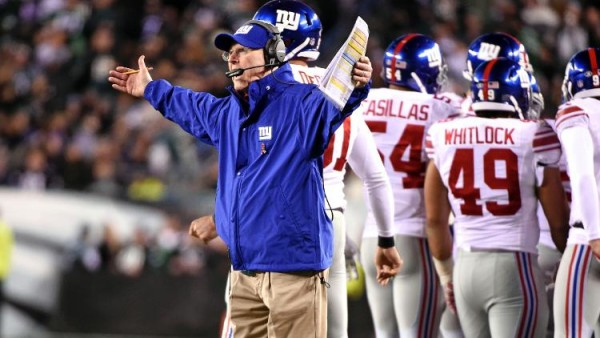 New York Giants coach Tom Coughlin bowled over by own player