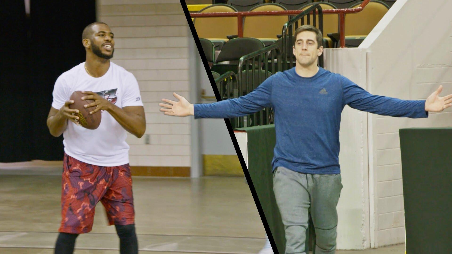 Aaron Rodgers & Chris Paul hit basketball & football trick shots