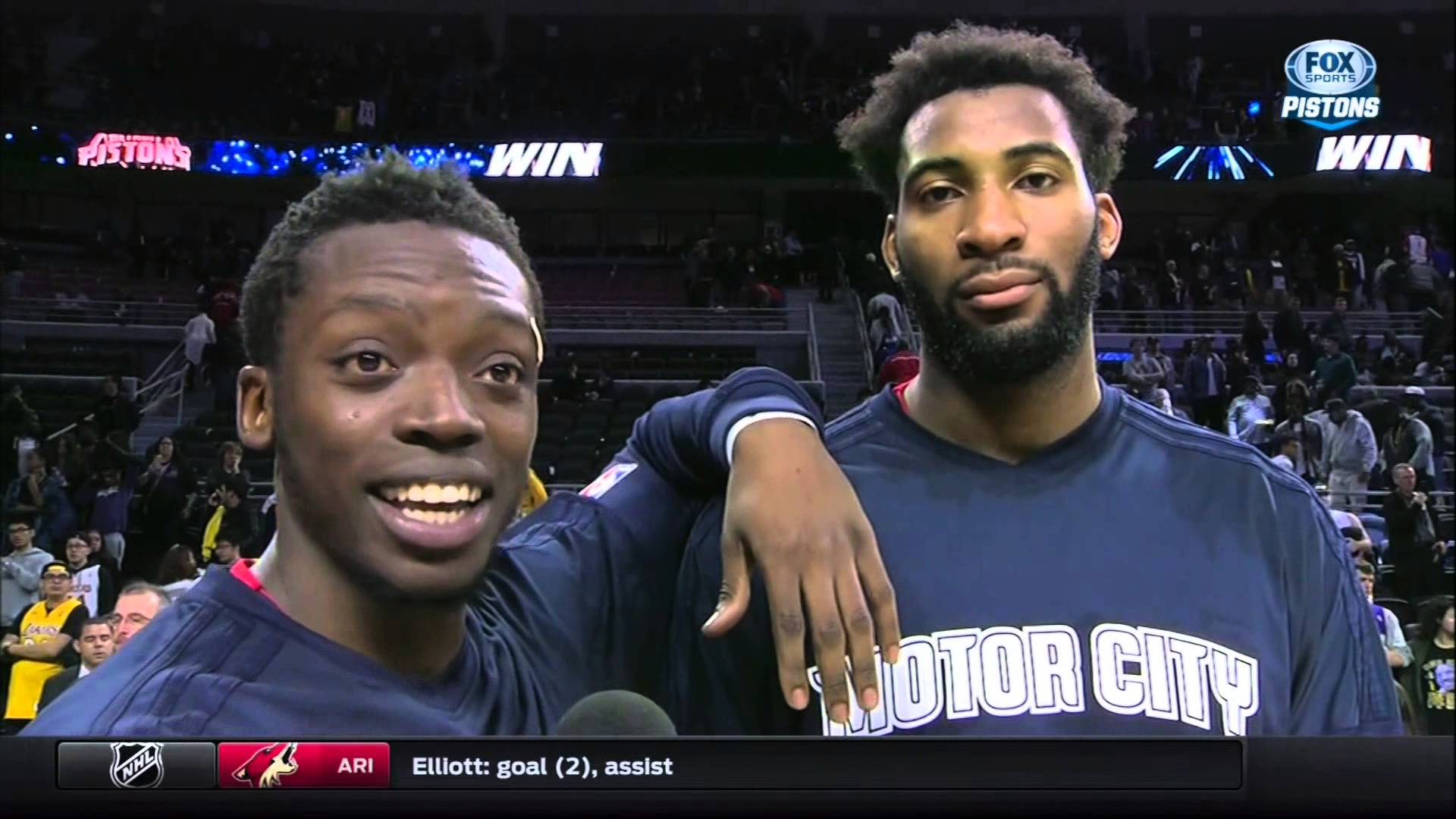 Andre Drummond stares into the camera during Reggie Jackson interview