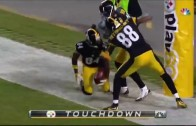 Antonio Brown violates a goal post after punt return TD