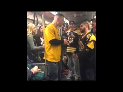 Boston Bruins fans fight each other on the train