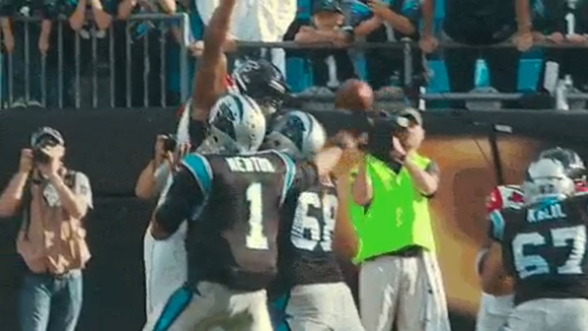 Cam Newton threads the needle with this pass
