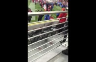Drunk Nebraska fan with horrible field storming attempt over targeting call