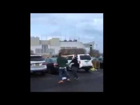 Jets fan stomps a Patriots fan in stadium parking lot