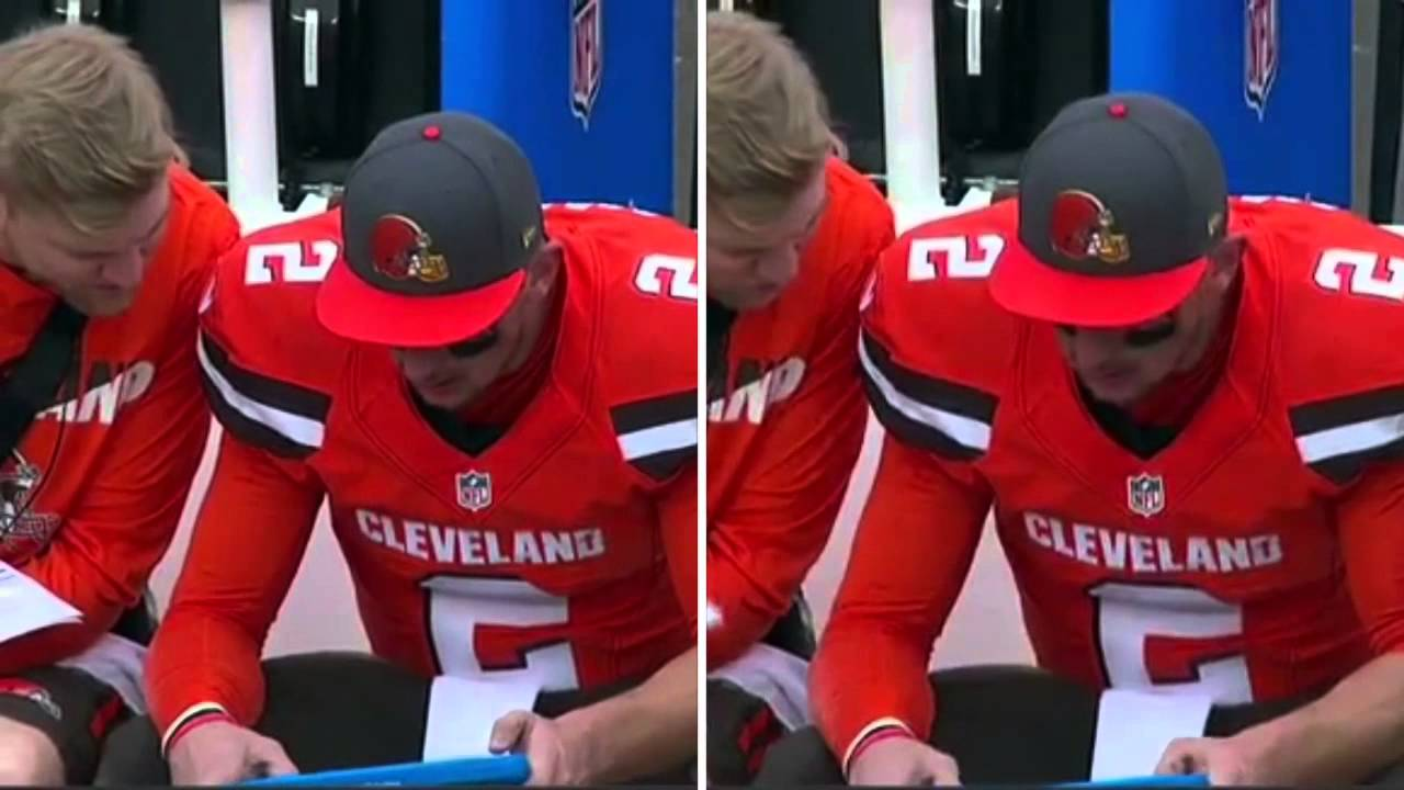 Johnny Manziel smashes tablet on his head after interception