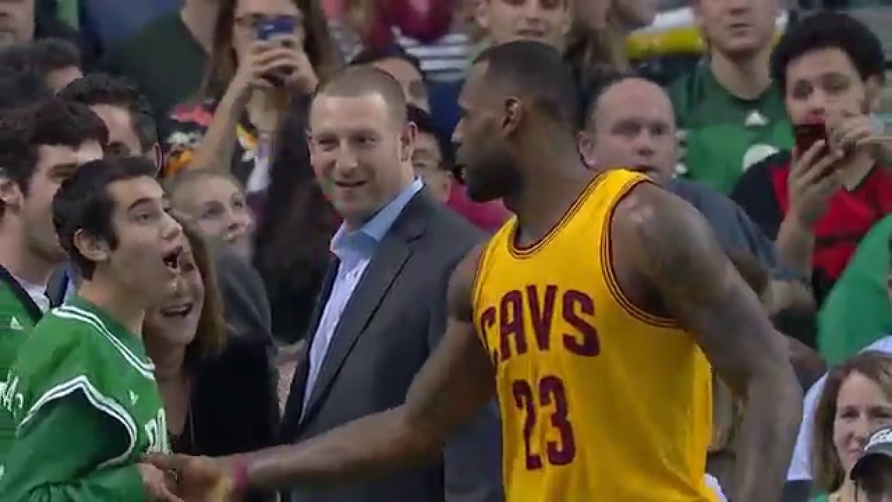 LeBron James congratulates Special Olympian during Celtics game