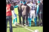 Panthers CB Josh Norman with a baseball bat before Panthers vs. Giants