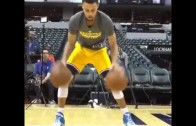 Steph Curry shows off his handles with two balls
