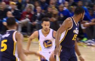 Stephen Curry puts Derrick Favors in the blender