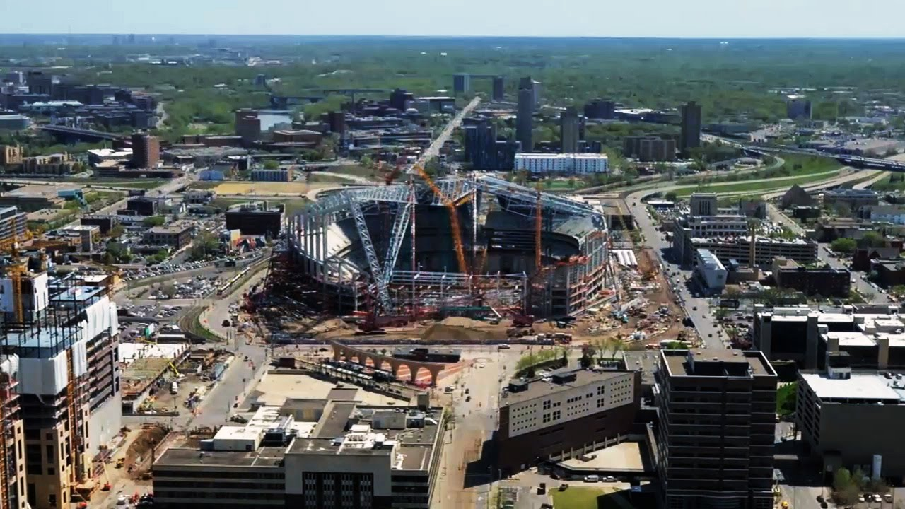 Time lapse of the Vikings' new stadium construction