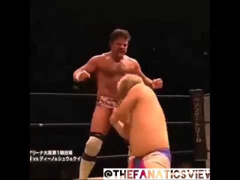 Wrestler executes devastating finishing move with his penis