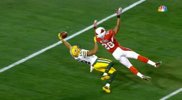 Randall Cobb with an amazing one handed catch that didn't count