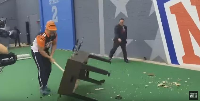 Bengals fan smashes foosball table to try and lift