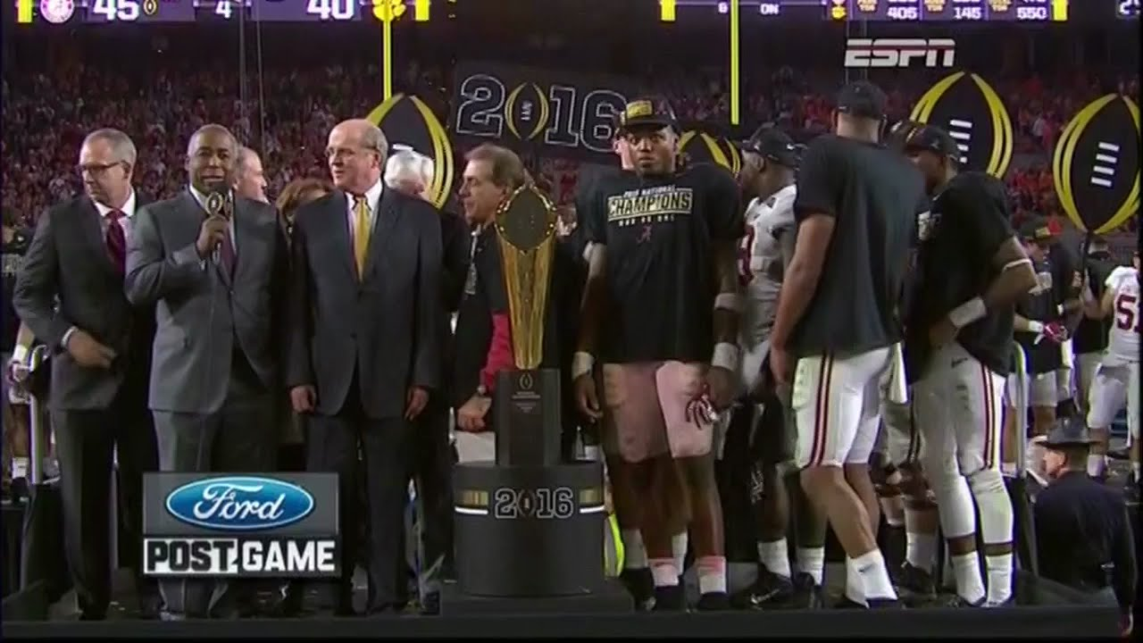 Alabama wins 2015 National Championship (Trophy Presentation)