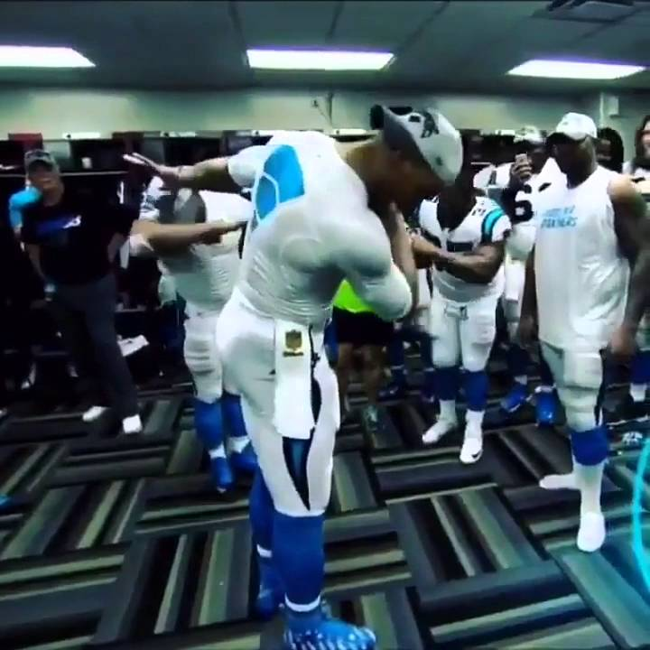 Cam Newton hits playoff dab in the Panthers locker room