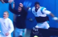 """Cam Newton throws a Seattle Seahawks '12th Man"""" flag"""