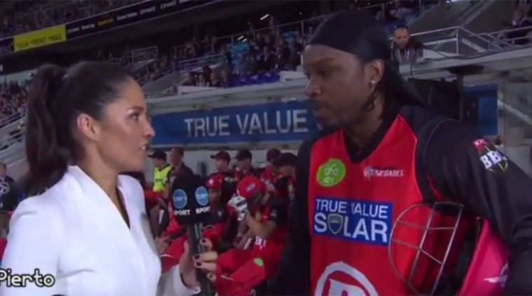 Cricket player Chris Gayle flirts with reporter during live interview
