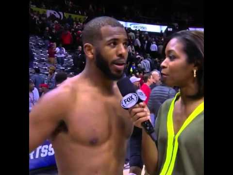 Chris Paul goes shirtless for an interview