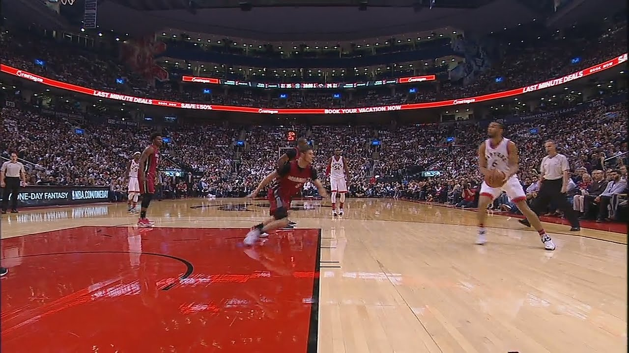 Cory Joseph shakes Tyler Johnson out of his feet
