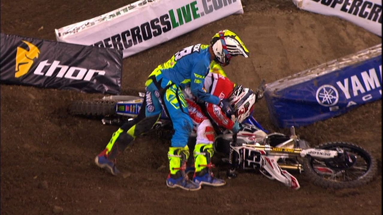 Dirtbikers come to blows at the Monster Energy Supercross