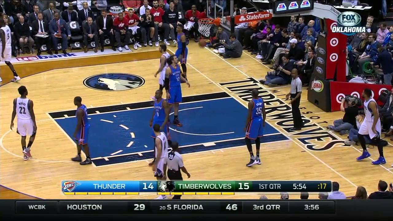 Karl Anthony Towns hits a freak trick shot after the whistle
