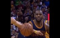 LeBron James' priceless facial expression after getting jacked by Steph Curry