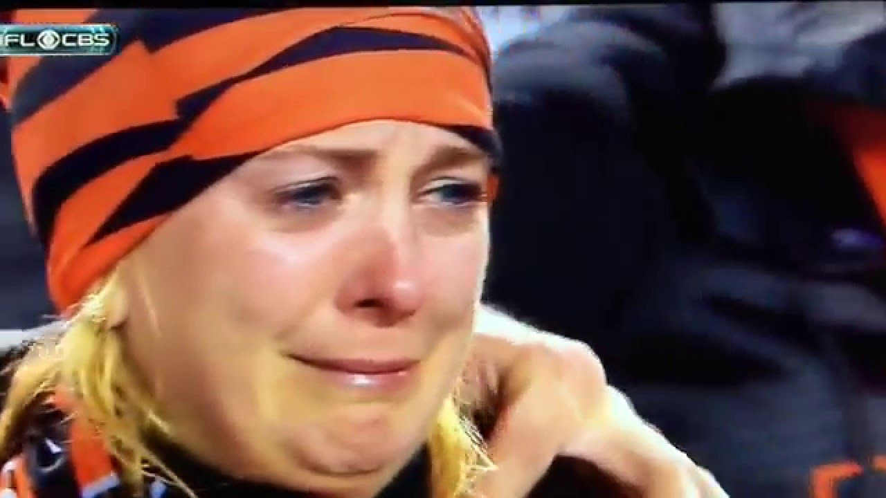 Montage of Bengals fans crying after Steelers loss