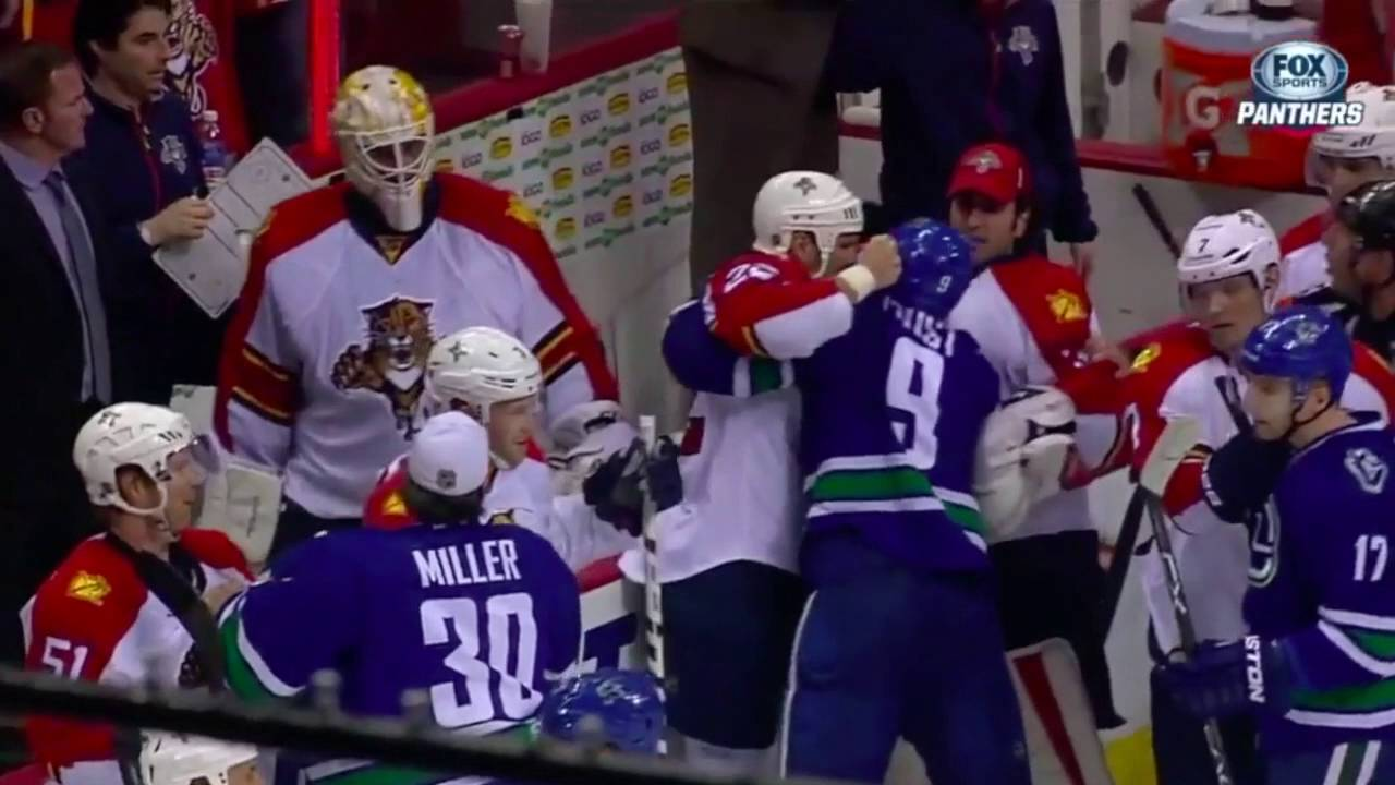 Panthers & Canucks brawl after the game