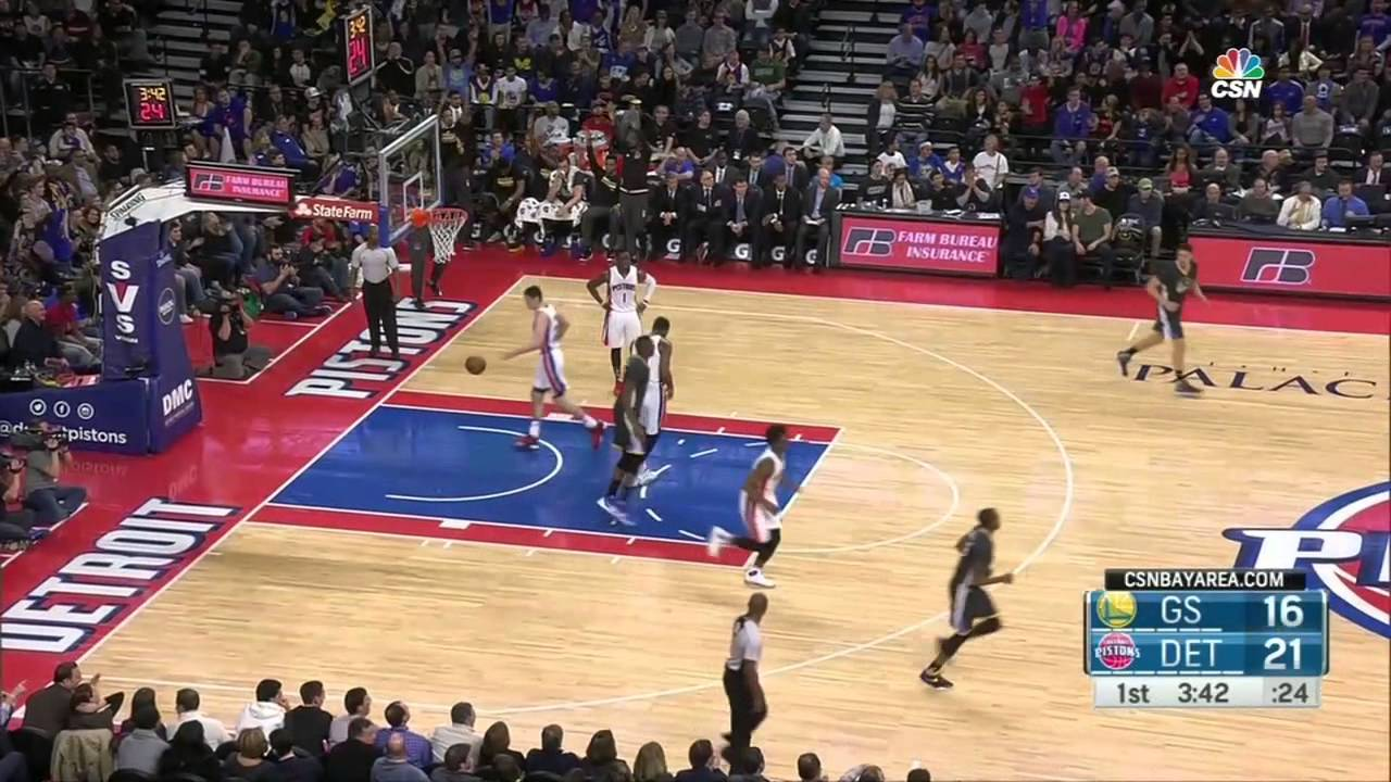 Steph Curry hits a 3 pointer from the Detroit Pistons logo