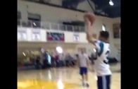 Steph Curry hits jumpers in his Carolina Panthers jersey
