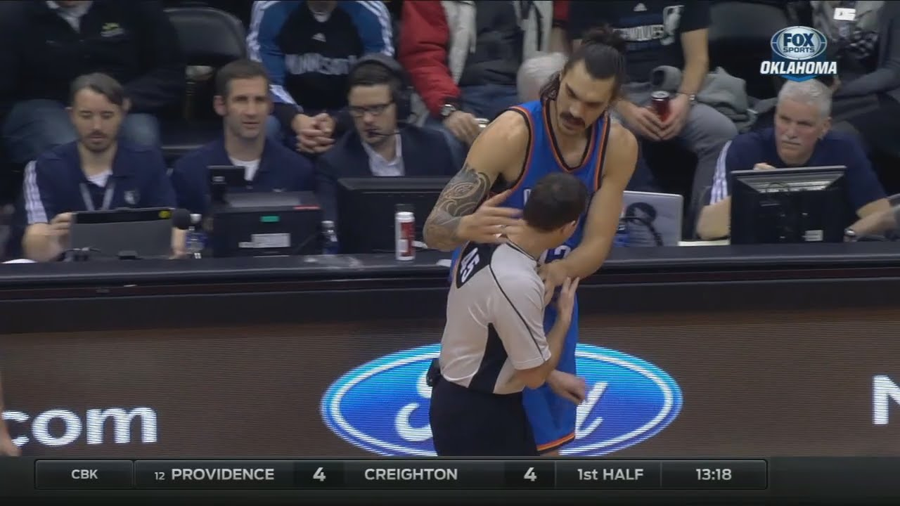 Thunder big man Steven Adams accidentally hits ref in the head