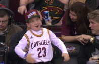 Young Cleveland Cavaliers fan was turned up courtside!