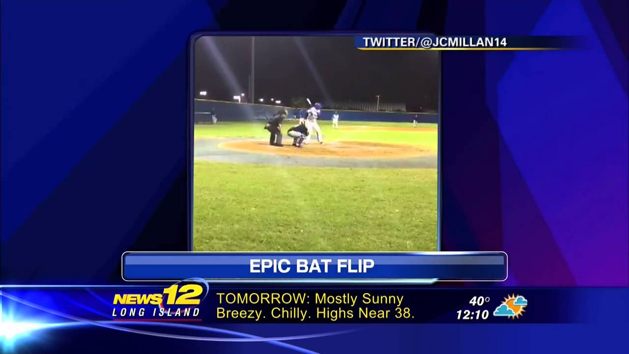 Broward College baseball player with an epic bat flip