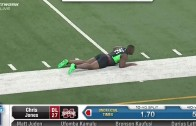 Mississippi State's Chris Jones balls burst out during 40 yard dash