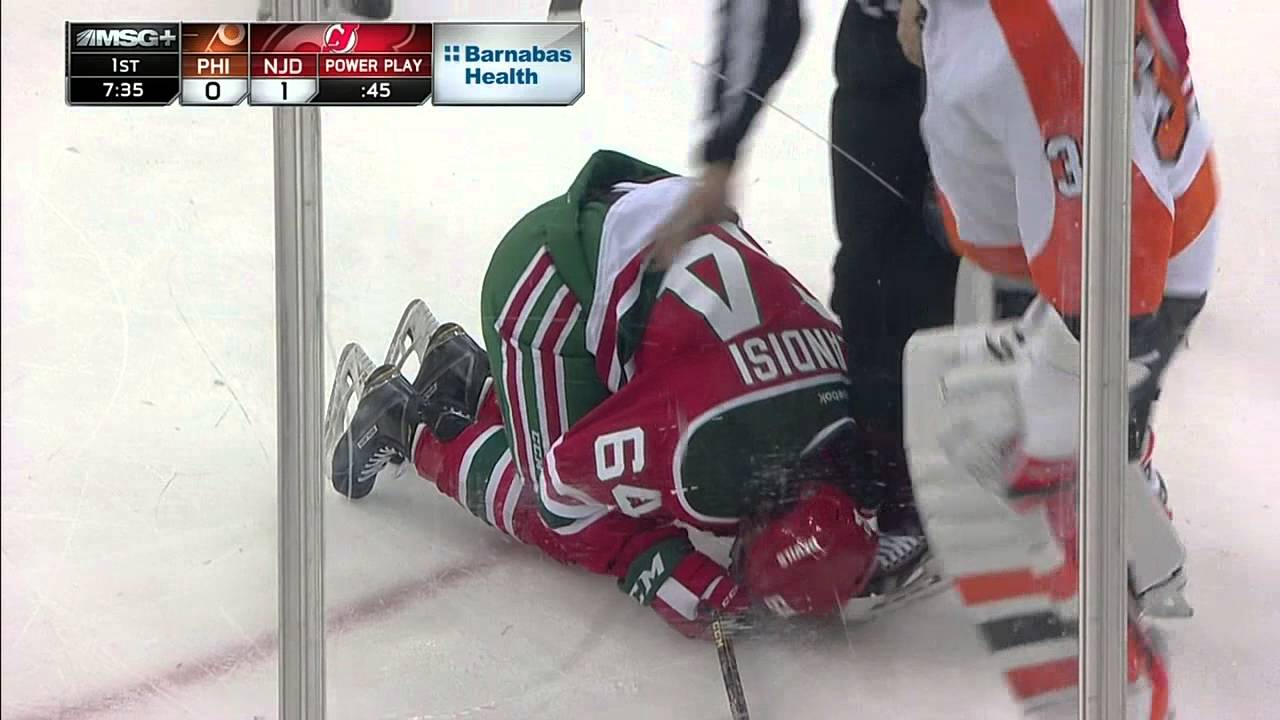 Epic hockey flop by New Jersey Devils player Joseph Blandisi