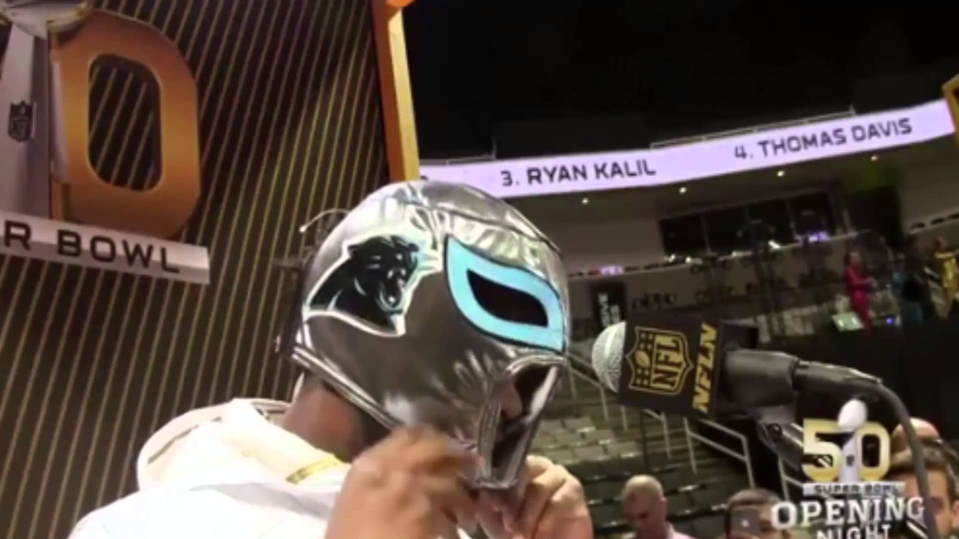 Josh Norman wore a Panthers 'Nacho Libre' mask at SB50 media day