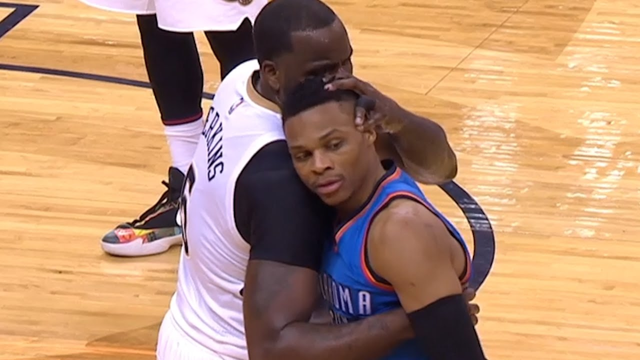Kendrick Perkins kisses Russell Westbrook after fouling him